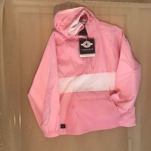 Hooded lined wind breaker with pockets. NWT